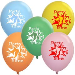 "Latex Balloons Printed with ""Party Time"" - 10""/26cm, Radar GMI.PT"