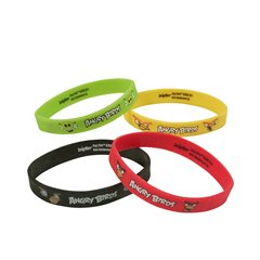Angry Birds Pink Bird Rubber Bracelets, Amscan RM500253, Pack of 4 pieces