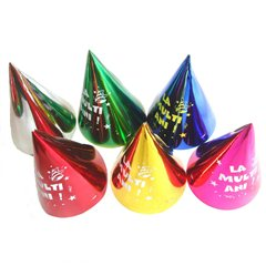 """La multi ani"" Assorted Metallic Party Paper Hats  - 16cm, Radar SMFIT.C16M.LMA"