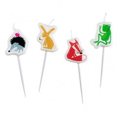 Animals Mini-Figurene Candles, Amscan RM998371, Pack of 4pieces