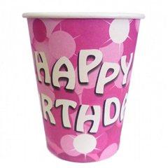 Pahare carton Happy Birthday pentru petrecere copii, 250ml, Amscan 551772, Set 8 buc