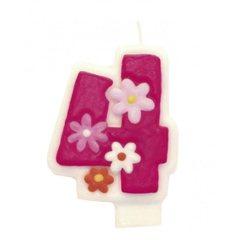 Lumanare aniversara Cifra 4 pentru tort cu floricele roz, Amscan 551744