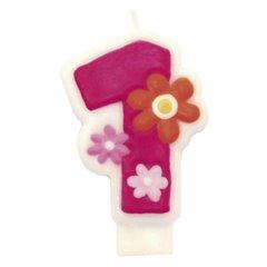 Lumanare aniversara Cifra 1 pentru tort cu floricele roz, Amscan 551741