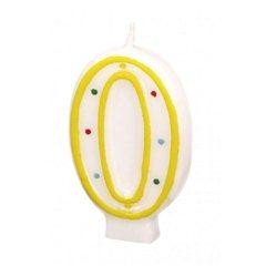 Lumanare aniversara Cifra 0 pentru tort cu buline colorate, Alb & Galben, Amscan RM550290, 1 buc