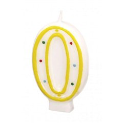 Polka Dots Birthday Candle Number 0, White & Yellow, Amscan RM550290, 1 Piece