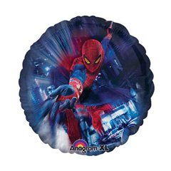 Balon mini folie Spiderman - 23cm, umflat + bat si rozeta, Amscan A24841
