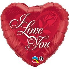 "18"" Heart Foil I Love You Red Rose, Qualatex 24489"