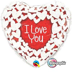 "18"" Heart Foil Holographic I Love You Glitter Hearts, Qualatex 34813"