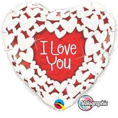 Balon Folie 45 cm I Love You, Qualatex 34813