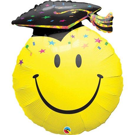 """36"""" Smile Face Shape Foil Party Grad, Qualatex 40379"""