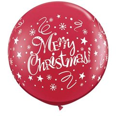 Baloane 90 cm Rosu Inscriptionat Merry Christmas, Qualatex 74666, 2 buc