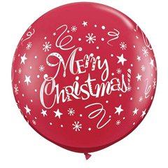 3' Merry Christmas Ruby Red Latex x 2, Qualatex 74666, 2buc