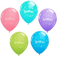 Latex asorted balloons printed with happy birthday message in Romanian, Qualatex QM27078ASSP.LMA