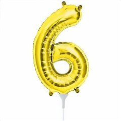 "16""/41 cm Gold Number 6 Shaped Foil Balloon, Northstar Balloons 00563"