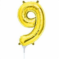 Balon folie cifra 9 auriu - 20 x 35cm, Amscan 33093