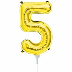 "16""/41 cm Gold Number 5 Shaped Foil Balloon, Northstar Balloons 00562"