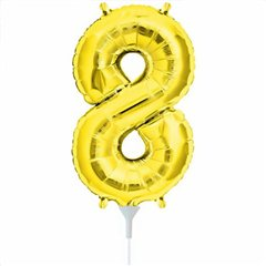 "16""/41 cm Gold Number 8 Shaped Foil Balloon, Northstar Balloons 00565"