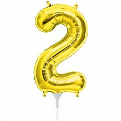 "16""/41 cm Gold Number 2 Shaped Foil Balloon, Northstar Balloons 00559"