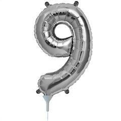 "16""/41 cm Silver Number 9 Shaped Foil Balloon, Northstar Balloons 00441"