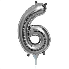 "16""/41 cm Silver Number 6 Shaped Foil Balloon, Northstar Balloons 00438"