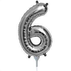 Balon folie cifra 6 argintiu - 41cm, Northstar Balloons 00438