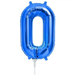 "Number 0 Blue Foil Balloon - 16""/41 cm, Qualatex 59021"