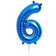"Number 6 Blue Foil Balloon - 16""/41 cm, Qualatex 59033"
