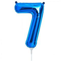 "Number 7 Blue Foil Balloon - 16""/41 cm, Qualatex 59035"