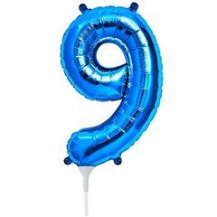 Balon folie cifra 9 albastru - 41 cm, Qualatex 59039