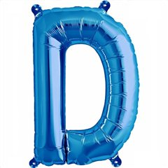 "16""/41 cm Blue Letter D Shaped Foil Balloon, Qualatex 59388"