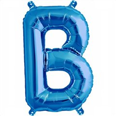 "16""/41 cm Blue Letter B Shaped Foil Balloon, Qualatex 59384"
