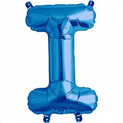 "16""/41 cm Blue Letter I Shaped Foil Balloon, Qualatex 59398"