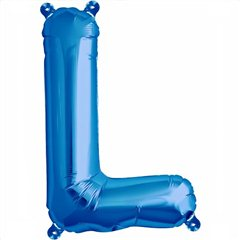 Balon folie litera L albastru - 41 cm, Qualatex 59404
