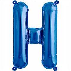"16""/41 cm Blue Letter H Shaped Foil Balloon, Qualatex 59396"