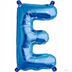"16""/41 cm Blue Letter E Shaped Foil Balloon, Qualatex 59390"