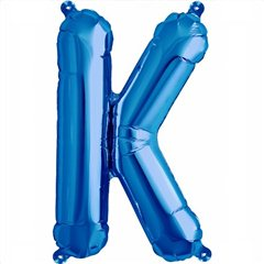 "16""/41 cm Blue Letter K Shaped Foil Balloon, Qualatex 59402"