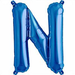 "16""/41 cm Blue Letter N Shaped Foil Balloon, Qualatex 59408"