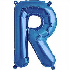 "16""/41 cm Blue Letter R Shaped Foil Balloon, Qualatex 59416"