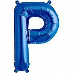 "16""/41 cm Blue Letter P Shaped Foil Balloon, Qualatex 59412"