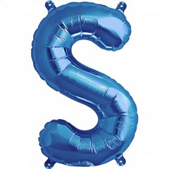 "16""/41 cm Blue Letter S Shaped Foil Balloon, Northstar Balloons 00549"
