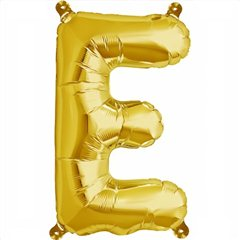 "16""/41 cm Gold Letter E Shaped Foil Balloon, Northstar Balloons 00571"