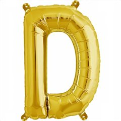 "16""/41 cm Gold Letter D Shaped Foil Balloon, Northstar Balloons 00570"