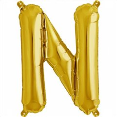 "16""/41 cm Gold Letter N Shaped Foil Balloon, Northstar Balloons 00567"