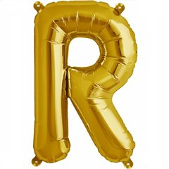 "16""/41 cm Gold Letter R Shaped Foil Balloon, Northstar Balloons 00584, 1 piece"