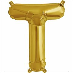 "16""/41 cm Gold Letter T Shaped Foil Balloon, Northstar Balloons 00585"