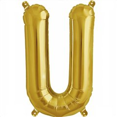 "16""/41 cm Gold Letter U Shaped Foil Balloon, Northstar Balloons 00587"