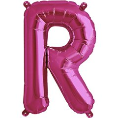 Balon folie litera R magenta - 41cm, Qualatex 59582