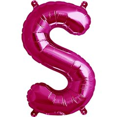 Balon folie litera S magenta - 41cm, Qualatex 59584