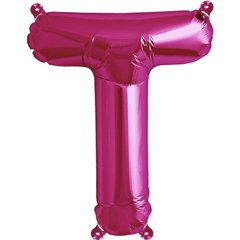 Balon folie litera T magenta - 41cm, Qualatex 59586