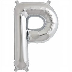 "16""/41 cm Silver Letter P Shaped Foil Balloon, Northstar Balloons 00494"